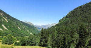 Panorama of Aran valley, Spain. Forest of Aran valley in the Catalan Pyrenees, Spain Stock Photo