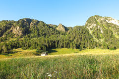 Panorama of Aran valley, Spain Stock Photography