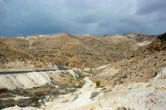 Panorama of Arava desert,Israel. Panorama of Arava desert, overcast weather, Israel Royalty Free Stock Photography
