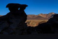 Panorama of Arbol de Piedra at sunset Stock Photo