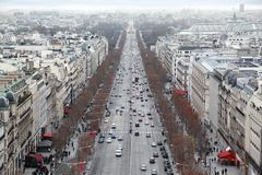 Panorama from Arc de Triomphe, Champs-Elysees. Beautiful panorama from Arc de Triomphe, Champs-Elysees in Paris, France, Ferris wheel Stock Photo