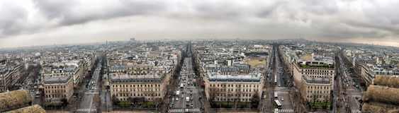 Panorama from Arc de Triomphe. A stitched panorama from the top of the Arc de Triomphe in Paris Stock Photography
