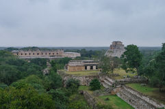 Panorama of  archaeological area Uxmal. Mexico Royalty Free Stock Image