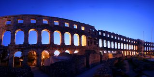 Panorama of the arches of the Roman amphitheatre i Stock Photo