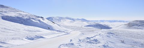Panorama Arctic highway Royalty Free Stock Images