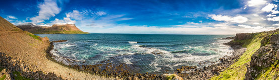 Panorama of arctic sea and coastline in Iceland Royalty Free Stock Photos