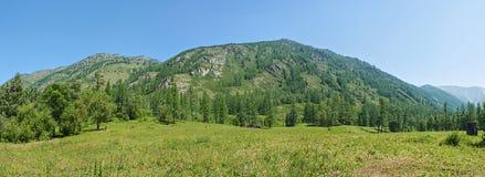 Panorama area of the river Kucherla. Trekking in the Altai Mountains Stock Photos