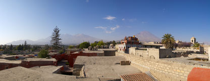Panorama of Arequipa and volcanoes, Peru. Stock Images