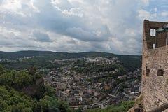 Panorama arial widok Idar-Oberstein w Palatinate, Niemcy Obrazy Stock