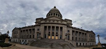 Panorama of the Arkansas State Capitol stock images
