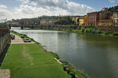 Panorama of the Arno River in Florence, Italy Royalty Free Stock Images