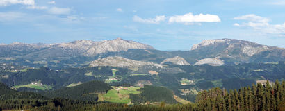 Panorama of Arratia valley in basque country with mountains Stock Image