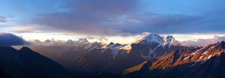 Panorama of the array. Of the mountains during sundown Stock Photo
