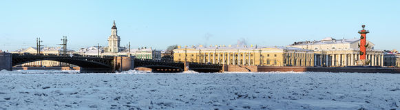 Panorama of the arrow Vasilyevsky island and palace bridge early Stock Images