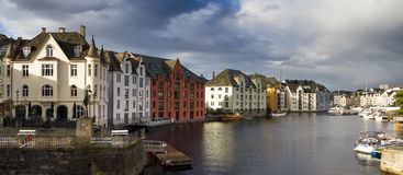 Panorama of the Art Nouveau quarter of Alesund. Norway Stock Photography