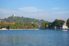 Panorama of the artificial lake of the city of Kandy. Sri Lanka Royalty Free Stock Photos