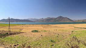 Panorama on Ashenge Lake, Korem region, road trip to Lalibela, Ethiopia, Africa. Panorama on Ashenge Lake, Korem region, road trip to Lalibela, Ethiopia, Africa stock footage