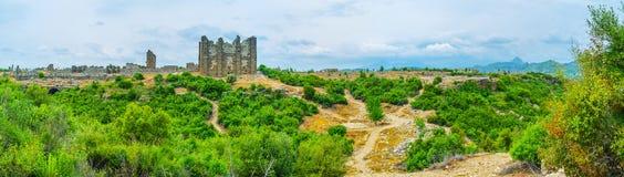 Panorama of Aspendos agora Stock Images