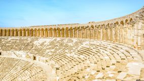 Panorama of Aspendos amphitheater and colonnade from top row of stock image