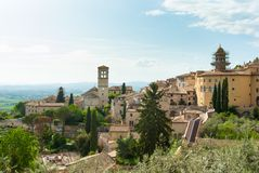 Panorama on Assisi town and hills stock photo