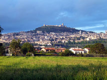 Panorama of Assisi village and Umbria countryside, Italy Stock Photography