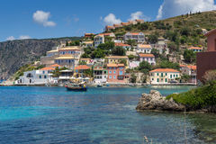 Panorama of Assos village and beautiful sea bay, Kefalonia, Greece. Panorama of Assos village and beautiful sea bay, Kefalonia, Ionian islands, Greece royalty free stock images
