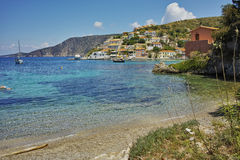 Panorama of Assos village and beautiful sea bay, Kefalonia Royalty Free Stock Image