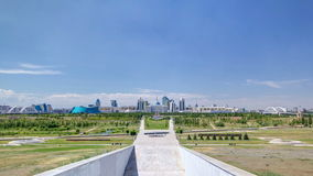 Panorama of the Astana city timelapse and the president's residence Akorda with park stock video footage
