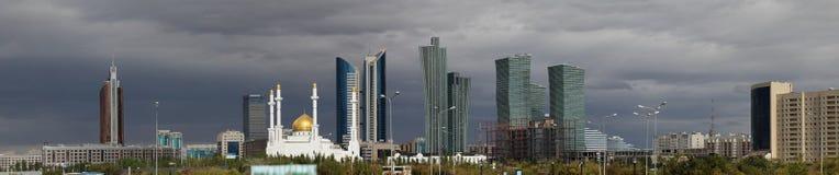 Panorama of Astana. Astana under a dark autumn sky stock images