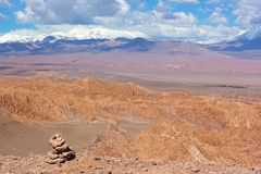 Natural beauty of unspoiled desert landscape in Atacama, Chile. Panorama of Atacama Desert with rock formations, Andes snow tops and high altitude steppe royalty free stock photo