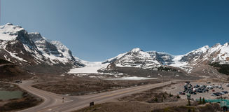 Panorama Athabasca Glacier. Beautiful panorama of the Athabasca Glacier Stock Photos