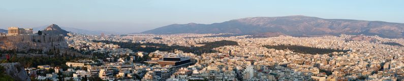 Panorama of Athens and Acropolis,Greece, Balkans Stock Photos