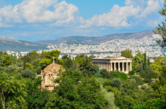 Panorama of Athens City in Greece with antique monument and chur Royalty Free Stock Image