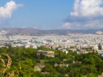 Panorama of Athens City in Greece with beautiful antique monumen Stock Image