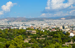 Panorama of Athens City in Greece with beautiful antique monumen Royalty Free Stock Photos
