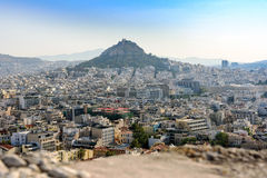 Panorama of Athens and Licabetus hill from walls of Acropolis. Royalty Free Stock Images