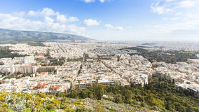 Panorama of Athens from Lycabettus. ATHENS, GREECE - MAR 28, 2015: Panorama of Athens from Lycabettus. Lycabettus also known as Lycabettos, Lykabettos or stock photo