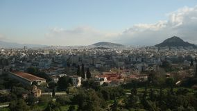 Panorama of Athens and Lycabettus Hill in Greece. stock video footage
