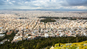 Panorama of Athens from Lycabettus. Lycabettus also known as Lycabettos, Lykabettos or Lykavittos. ATHENS, GREECE - MAR 28, 2015: Panorama of Athens from stock image
