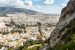 Panorama of Athens from Lycabettus. Lycabettus also known as Lycabettos, Lykabettos or Lykavittos - a mountain in central Athens. ATHENS, GREECE - MAR 28, 2015 stock photo