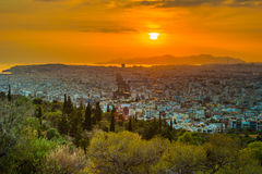 Panorama of Athens at sunset. Beautiful cityscape Stock Image