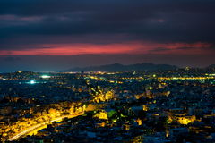 Panorama of Athens at sunset. Beautiful cityscape Stock Photo