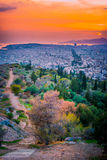Panorama of Athens at sunset. Beautiful cityscape Royalty Free Stock Photography
