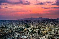 Panorama of Athens at sunset. Beautiful cityscape Royalty Free Stock Photo