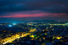 Panorama of Athens at sunset. Beautiful cityscape Royalty Free Stock Images