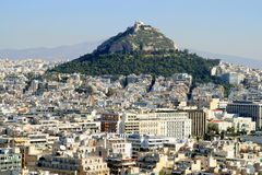 Panorama of Athens, view the hill Likabett Royalty Free Stock Image