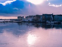 Panorama of Athlone city and the Shannon river Royalty Free Stock Photos
