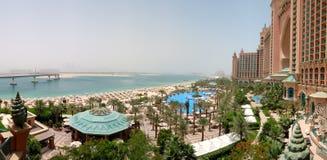 Panorama of Atlantis the Palm hotel's beach. Dubai, UAE Stock Photography