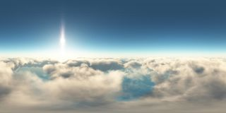 Panorama au-dessus des nuages au coucher du soleil illustration libre de droits