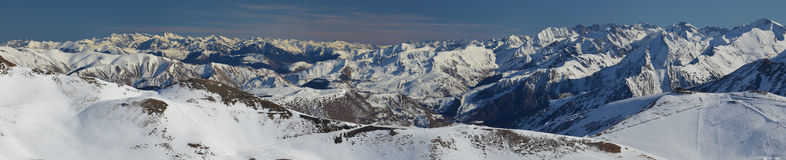 Panorama of Aure Valley in Hautes Pyrenees  from the top. Panorama of Aure Valley in Hautes Pyrenees in winter, seen from the top of of Saint-Lary-Soulan ski Royalty Free Stock Photography